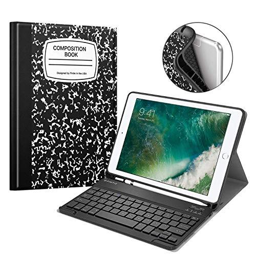 Fintie Tastatur Hülle für iPad 9.7 2018 (6. Generation), Soft TPU Rückseite Gehäuse Keyboard Case mit eingebautem Pencil Halter, magnetisch Abnehmbarer QWERTZ Bluetooth Tastatur, Notizblock