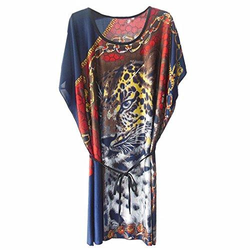 QIYUN.Z Imprime Leopard Manches Chauve-Souris Lache Boheme Des Femmes Ceinturee Robe De Boho Blouson fleur rouge saphir