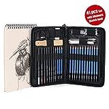 41PCS Crayons Croquis (avec 1 Carnet à Dessin), Crayons Dessin Crayons de Fusain Graphite Comprenant Bâtonnets, Couteau, Extenseur, Taille-crayons et Pochette de Transport