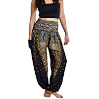 Lanna Thai Harem Trousers with Smock Waist and Bohemian Style