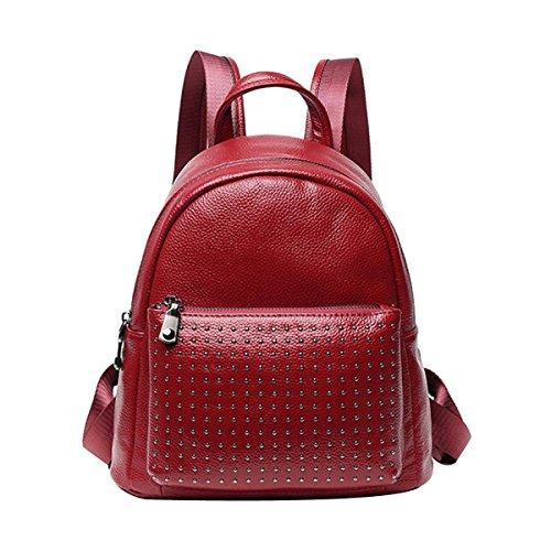 Nietdekoration Der Frauen Einfacher Entwurfs-Mode-zufälliger Rucksack-Reise-Tagesrucksack,Red-S