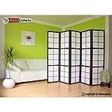 Homestyle4u 3 fach Paravent Raumteiler - Holz Trennwand Shoji in