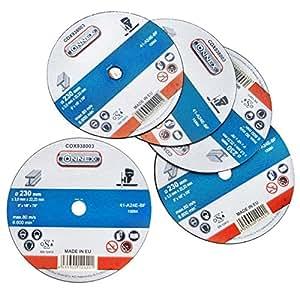 Connex COX938008 - Set di 5 dischi per taglio del metallo, diametro 230 mm, larghezza 3,0 mm