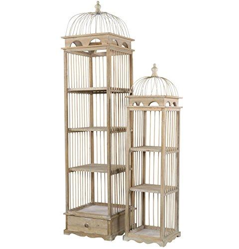 habeig 2er Set Etagere aus Holz Schrank Regal Pflanztreppe Vogelkäfig Landhaus Anrichte