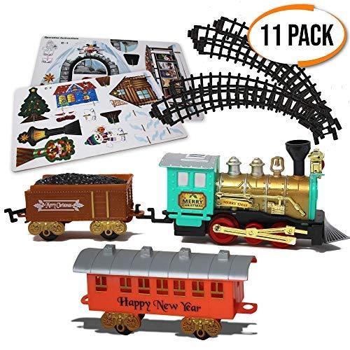 Set trenino di natale - confezione da 11 - elettrico con luci e suoni realistici - treno giocattolo regalo ideale per albero di natale decorazioni e compleanni