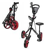 Caddymatic Golf X-TREME 3 Wheel Push/Pull Golf Trolley with Seat Black/Red
