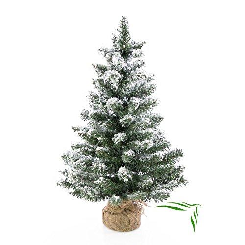 Künstlicher Mini Weihnachtsbaum REYKJAVIK im braunen Dekosack, beschneit, 75 Zweige, 60 cm, Ø 25 cm - Kunst Tannenbaum / Deko Christbaum - artplants