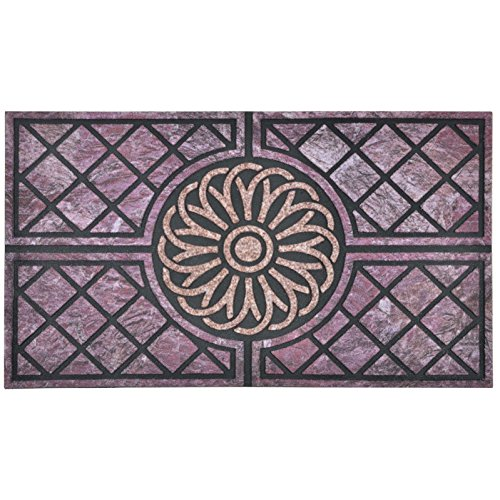 Micro-Pro Flocked Rubber Purple Spiral Design Doormat Floor 75cm Nylon Indoor Outdoor