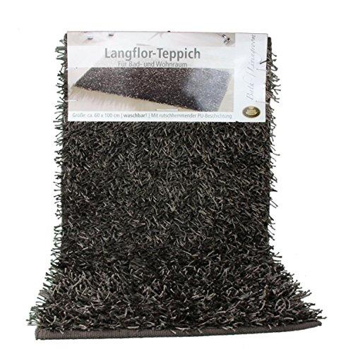 Gözze Teppich, Langflor, Metallic-Optik, 50 x 70 cm, Shaggy, Taupe, 1012-71-7 (Bett Metallic-set)