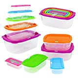 Taylor & Brown® 10pc Stackable Nesting Food Storage Containers Coloured Lid Plastic Lunch Boxes