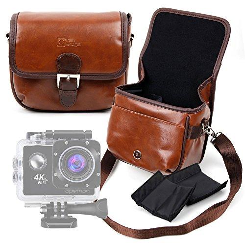 DURAGADGET Bolsa Profesional marrón con Compartimentos para Apeman A60 | A66 | A80 / Rollei Actioncam 416 | Actioncam 426 Tamaño Mediano