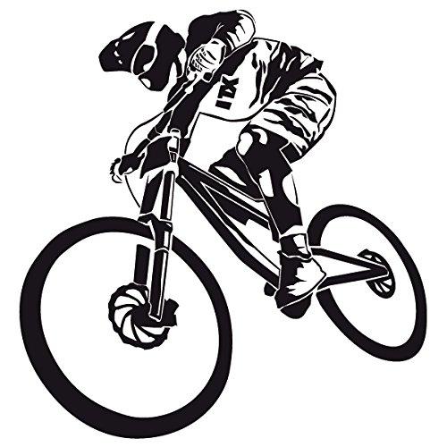 Wadeco Mountainbiker Downhill Wandtattoo Wandsticker Wandaufkleber 35 Farben verschiedene Größen, 46cm x 48cm, azurblau
