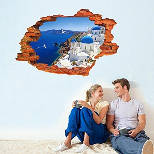 3D Mediterrane Landschaft Fake Fenster Wand Aufkleber Home Aufkleber PVC Wandmalereien, Vinyl, Papier, House Dekoration Tapete Wohnzimmer Schlafzimmer Küche Kunst Bild DIY für Kinder Teen Senior Erwachsene Kinderzimmer Baby