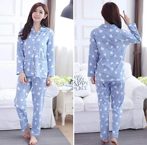 GHFDSJHSD Frauen Pyjamas Set GroßE GrößE Langarm Loungewear Baumwolle T-Shirt Und Gedruckt Lange Hosen NachtwäSche Herbst Winter NachtwäSche, XL /120-140 kg / -