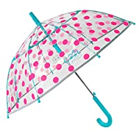 Transparent Reflective Kids Umbrella with Pink Polka Dots - Stick Dome Umbrella for Girls with Light Blue Fuchsia Details - Windproof Automatic Brolly in Fiberglass - 5/7 y/o - Diam 74 cm - Perletti