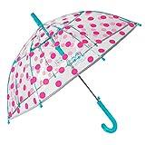 Paraguas Transparente Niña Lunares Fucsia Antiviento - Paraguas...