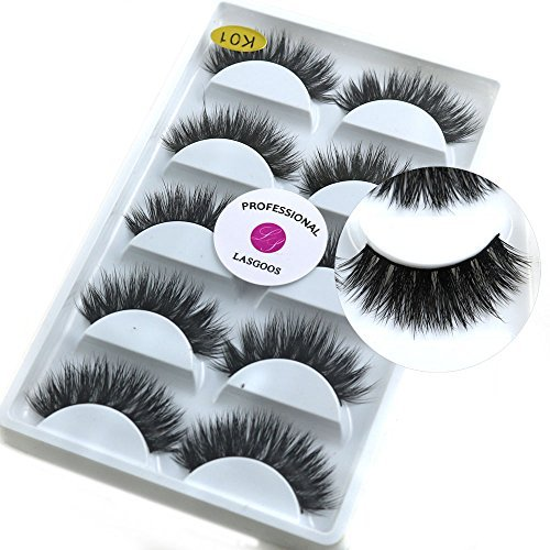 3de9abfef27 5 Pairs/Box 3D Real Mink False Eyelashes LASGOOS 100% Siberian Mink Fur  Luxurious