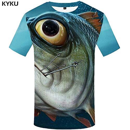 KYKU Fisch T-Shirt Männer Lustige T-Shirts Tier 3D Druck T-Shirt Raum Hip Hop T-Shirt Tropische Blase Gothic Herrenbekleidung Sommer -