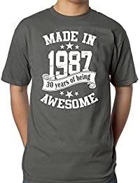 Mens 30th Birthday Grey T-shirt - Made In 1987 - 30 Years Of Being Awesome Gift T-shirt