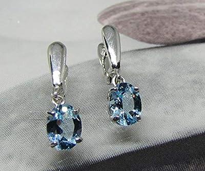 Boucles d'oreilles Topazes Bleues Argent Massif