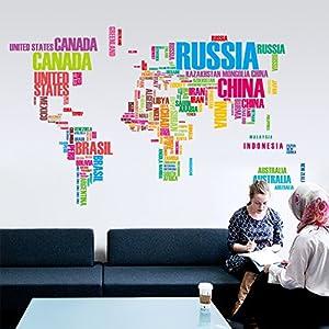 Zooarts Colorful letras mapa del mundo extraíble de pared adhesivo Vinilo Adhesivos Decor Mural de Habitación