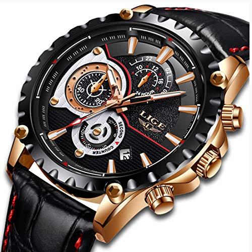 Herren Uhren Wasserdicht Chronograph Sport Analog Quarzuhr Männer Luxusmarke LIGE Mode Lässig Schwarz Leder Armbanduhr Mann Uhr Neu