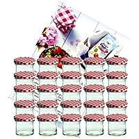 Conjunto de 25 tarros de vidrio 125 ml para conservas 66 rojo a cuadros con tapa Diamant-azúcar Gelierzauber recetas