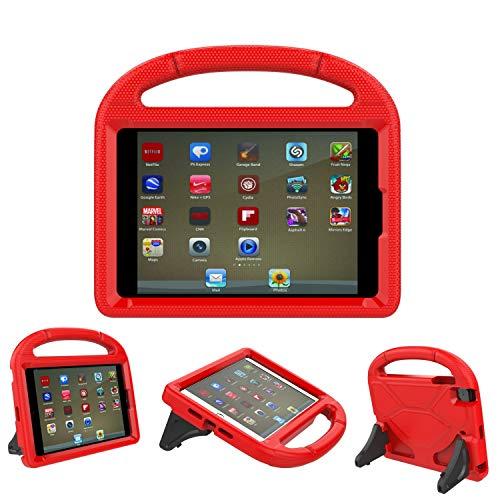 iPad 9.7Coque, iPad 9.7couvertures pour enfants-Threej Poids léger Portable antichoc Super Protection Poignée Stand Cover pour iPad 9.72018/2017 iPad 9.7-inch Rouge
