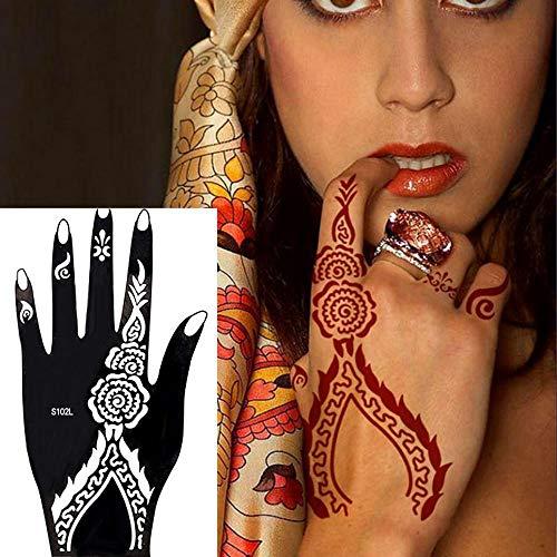 MOGOI Tattoo-Vorlage, 8 Stück Wiederverwendbare Schablonen Für Temporäre Tattoos Indisch-arabische Tattoo-Vorlagen Designs Für Frauen, Mädchen, Hand Und Arm Tattoo Aufkleber - Billige Tätowierungs-tinte