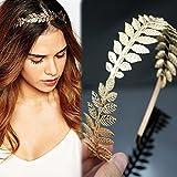 NUOLUX Römische Göttin Blatt Niederlassungsleiter zierliche Braut Haar Krone Kleid Boho Haarreif (Gold) - 2
