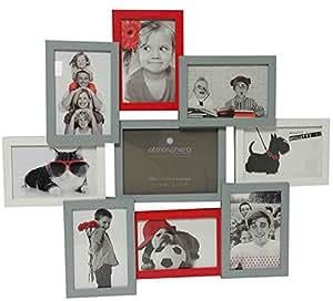 cadre photo p le m le mural capacit 9 photos coloris gris blanc et rouge cuisine. Black Bedroom Furniture Sets. Home Design Ideas