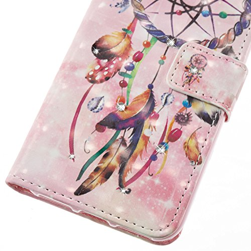 iPhone 7 Plus Coque Pu Folio avec Bling Diamant,iPhone 8 Plus Etui Portefeuille Magnétique,JAWSEU Homme Femme élégant Relief Coloré Motif Leather Pu Wallet Case Cover Brillante Glitter éclat Strass en Cloches de perles/3D