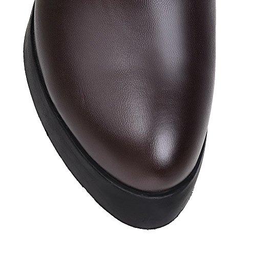 VogueZone009 Donna Puro Tacco Alto Punta Tonda Luccichio Allacciare Stivali Marrone