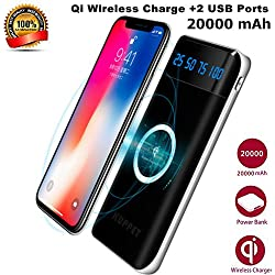 Wireless Charger Power Bank,KUPPET 20000mAh External Battery Charging Pack Portable Charger Battery Pack Portable Charger for iPhone X,iPhone 8,Samsung Galaxy S9/8/7 Note 8