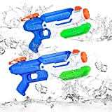 Toyvian Wasserpistole,2Pack 8-10m Reichweite Wassertank 850ml / 1050ml Sommer Strand Pool Spielzeug für Sommer Outdoor Partys, Freibad, Garten und Strand