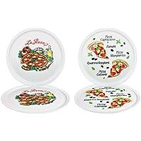 4er Set Pizzateller Napoli & Margherita groß - 32cm Porzellan Teller mit schönem Motiv - für Pizza / Pasta, den 'großen Hunger' oder zum Anrichten geeignet