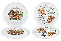 4er Set Pizzateller Napoli & Margherita groß - 30,5cm Porzellan Teller mit schönem Motiv - für Pizza / Pasta, den'großen Hunger' oder zum Anrichten geeignet