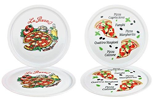 4er Set Pizzateller Napoli & Margherita groß - 32cm Porzellan Teller mit schönem Motiv - für Pizza / Pasta, den \'großen Hunger\' oder zum Anrichten geeignet