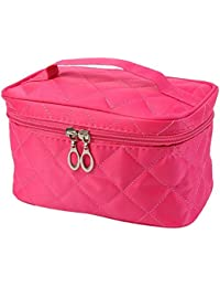 TOOGOO(R)Portable Waterproof Multifunction Cosmetic Bag Portable Thicker Diamond Lattice Makeup Bag Case Rose...