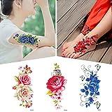 Blume Temporäre Tattoo Aufkleber für Frauen Männer Gefälschte Tätowierung Körper Kunst Erwachsene Wasserdichte Hand Aufkleber