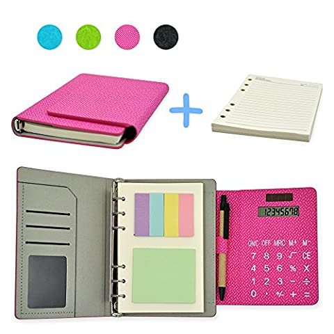 2017 PU Leather 6 Ring Executive Personal Organisers Business Multi-function Ruled Notebook With Solar Power Calculators and Card Slot 7