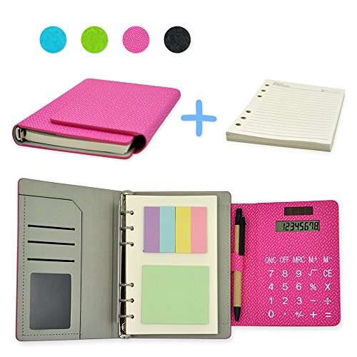 Back to School Woven Pattern Leather 6 Ring Binder Office Business Notebook Multifunction Diary Memo Books with Calculator and Sticky notes in 7