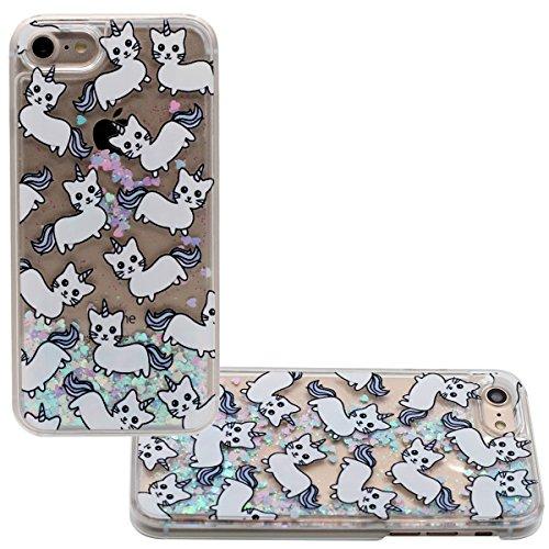 """iPhone 7 Coque, Joli Flottant Coeurs Mignonne Chat Minou Motif Liquide Eau Case Rigide Transparente étui pour Apple iPhone 7 4.7"""" Anti Choc color-1"""
