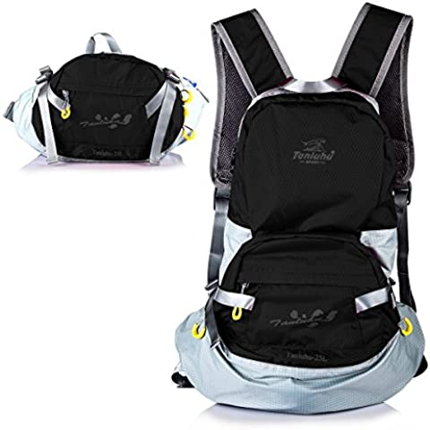 Mochila Plegable Mochila Impermeable 25L Backpack Plegada en los Bolso Riñonera Ultra Ligera Mochila Deportiva para Al Aire Libre Viaje Ciclismo Senderismo Nailon Negro - by LC Prime®
