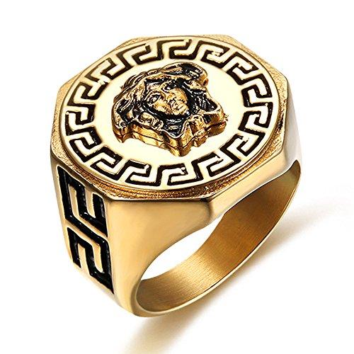 Herren Überzug Kim Griechische Mythologie Medusa Titan Stahl Ringe,Größe,54(17.2)