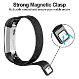For Fitbit Alta Strap Alta HR Band, Milanese Loop Stainless Steel Bracelet Smart Watch Strap with Magnet Lock for Fitbit Alta/Fitbit Alta HR Wristbands Large Small