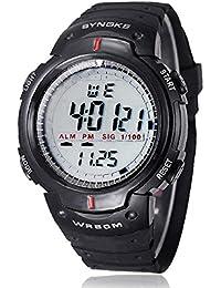 Malloom® Hombres digital Reloj LED deportes cuarzo alarma fecha reloj de pulsera (negro)