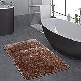 Paco Home Moderner Hochflor Badezimmer Teppich Einfarbig Badematte Rutschfest In Braun, Grösse:40x55 cm