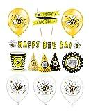 Feste Feiern Majala Mottoparty I 25 Teile All In One Honigbiene Set Luftballon Hüte Teller Girlande Schwarz Gelb Bunt Mädchen Deko Party Hqappy Birthday