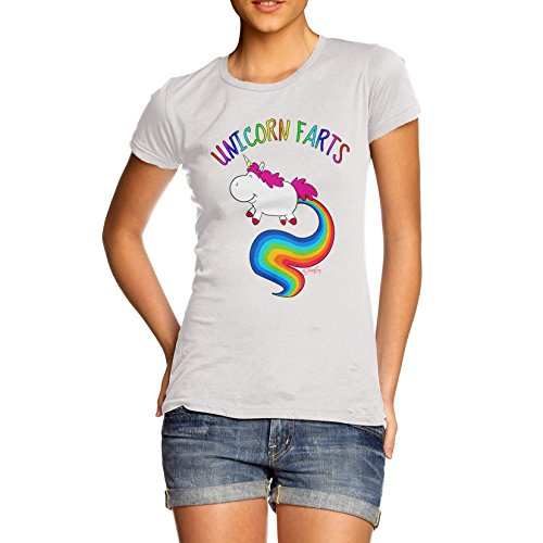TWISTED ENVY Rainbow Unicorn Farts Uni-Farts Women's Printed 100% Cotton T-Shirt, Crew Neck, Comfortable and Soft Classic Tee with Unique Design